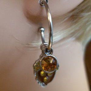 Autumn Themed Charm Drop Pierced Earrings